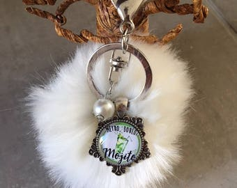 Metro, work, mojito - bag charm with tassel fur cabochon glass 20mm