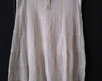 Vintage Indian Cotton Skirt * Gold Metallic * Multi Tiered * Drawstring Waist * Gauze * Travel Clothing * Boho * Bohemian * Gypsy * Festival