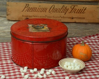 LARGE MARSHMALLOW TIN: A Vintage Bright Red Tin with a Marshmallow Label On The Top.
