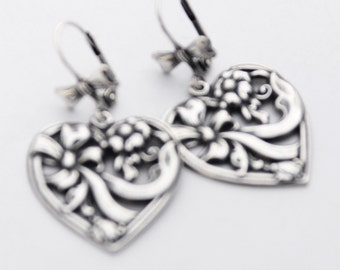 Mother's Day Gift, Silver Heart Earrings, Floral Heart with a Bow, Timeless Gift, Silver Earrings, Perfect Gift for Wife, Silver Jewelry