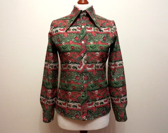 Multicolor Blouse Paisley Print Blouse Long Sleeves Blouse Womens Shirt Green Red Print Shirt Big Collar 70s Blouse Medium Size
