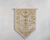 Motif Géométrique, bannière en coton, glitter doré ou velours noir