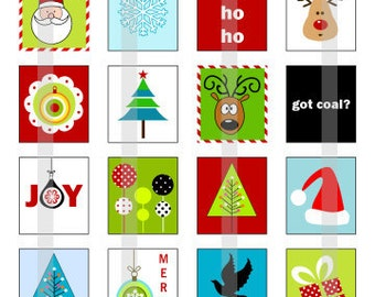 Merry Christmas 1 - one 4x6 inch digital sheet of scrabble size (0.75 x 0.83 inches) images for scrabble tiles