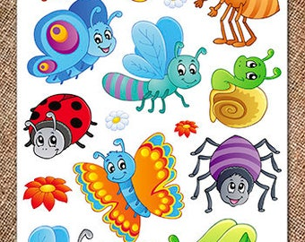 2 Printed sheets. Cute Insects and Animals. Korean Felt. Eco-polyester 100%.