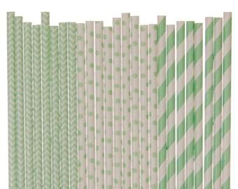 Paper Straw Mix, Mint Green Paper Straws, Mint Chevron Polka Dot Striped Party Supplies, Spring Wedding Straws, Garden Party Decorations