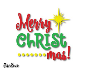 Merry Christ mas! Christmas Star Holidays SVG, EPS, dxf, png, jpg digital cut file for Silhouette or Cricut