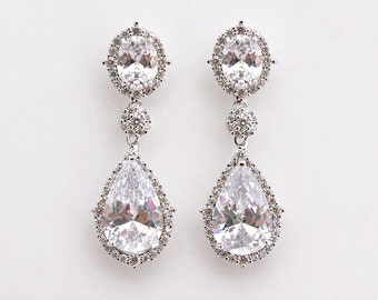 Sophia - CZ Wedding Earrings, Bridal Earrings, Crystal Teardrop Earrings, Bridal Jewelry, Cubic Zirconia, Silver Earrings, Bridesmaid Gifts