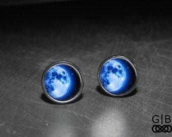 Blue Moon Studs Blue Moon Jewelry Earrings - Blue Moon Earrings - Moon Blue Studs Earrings - Blue Moon Jewelry Earrings Studs Moon Earrings