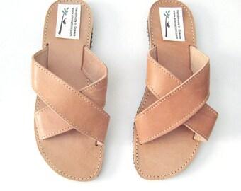 Criss cross sandals, crisscross slides, leather slides,Greek sandals,Womens leather sandals,nu pieds cuir, sandales grecques femme