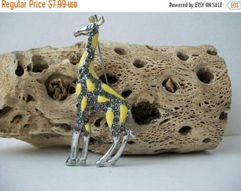 ON SALE Vintage Silver Tone Yellow Enameled Rhinestones Giraffe Larger 1950s Pin 60816
