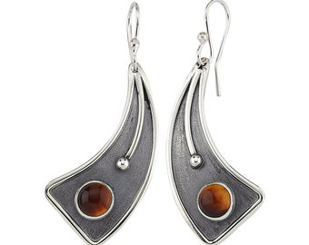 Sterling Silver Hand Made Earrings with Tiger's Eye