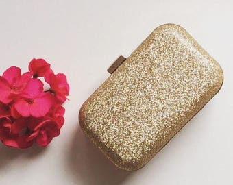 Gold Glitter Frame Clutch Bag