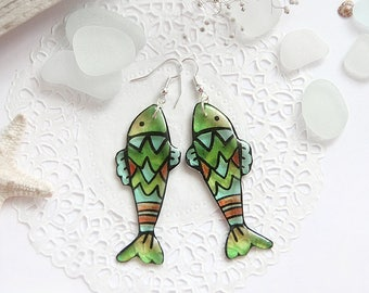 Summer earrings Fish jewelry aquarium earrings Sea hippie jewelry Animal earrings Sea life jewelry silver earrings for nature lover gift her