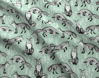 Fox Mint Green Woodland Animal Cute For Nursery Gender Neutral Baby By Andrea Lauren Cotton Fabric The Yard With Spoonflower