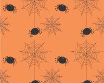 Riley Blake Halloween Quilt Fabric, Orange with Black Spiders, C565