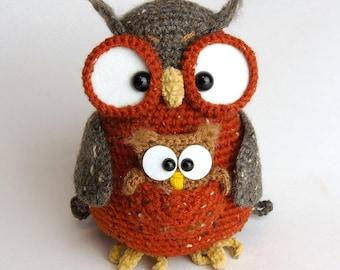 Tweedette the marsupial owl - amigurumi PDF crochet pattern