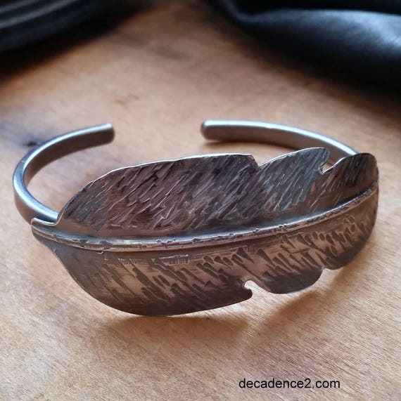 Forged Sterling Silver Feather Cuff,  Slim Sterling Cuff, Boho Jewelry
