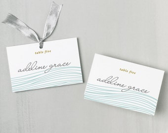 Printable Place Card Template | INSTANT DOWNLOAD | Ocean Escort Card | Editable Colors | Mac or PC | Word & Pages | Flat or Folded