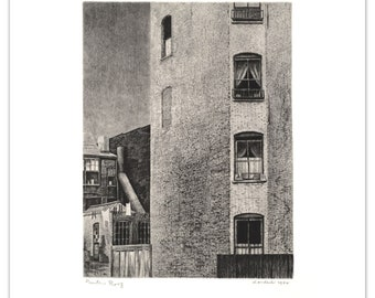 """Armin Landeck """"Tenement Walls"""" 1942 Drypoint Print ed 100 - Printer's Proof - Whitney Museum Permanent Collection"""