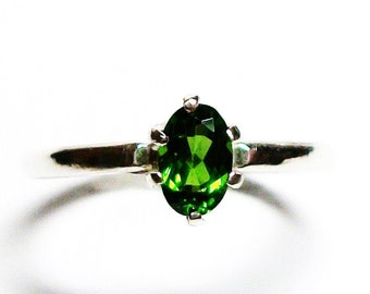 "Chrome diopside ring, chrome diopside, solitaire ring, green ring, green, s 5 3/4 ""Keen for Green"""