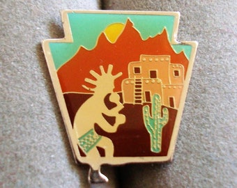 SOUTHWESTERN PUEBLO/KOKOPELLI pin is 7/8 inch tall by 3/4 inch wide. condition excellent,, See description area for info