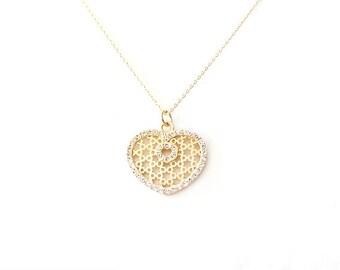 Minimalist Gold Filled Necklace - Swarovski Crystal - Gold - The Basics: Pavé Heart Star Cut-out