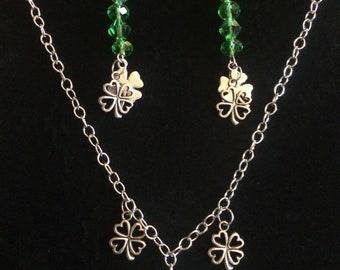 Lucky Shamrocks choker/necklace & Earrings Set