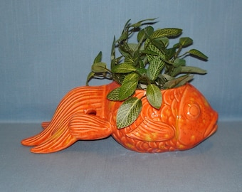 Mosaic Koi Fish Planter Stained Glass In Blue And Gold