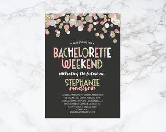 Printable Confetti Theme Bachelorette Weekend Invitation