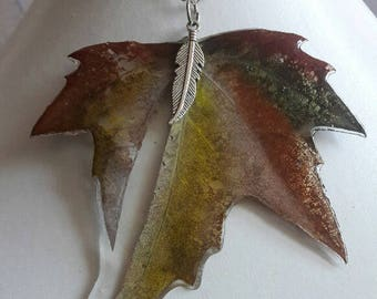 Necklace maple leaf  on a silver chain, Pendant with natural leaf of maple, Gift for Her