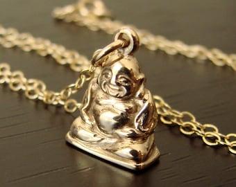Buddha Necklace, Coworker Gift, SMILING BUDDHA Pendant Yoga Jewelry Buddha Jewelry