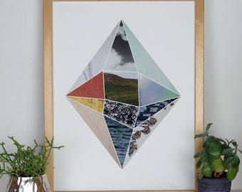 Geometric Collage Print Diamond Face