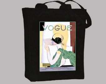 Vogue Flapper Cover, May 28, 1928 Black or Natural Canvas Tote  - Selection of Sizes available