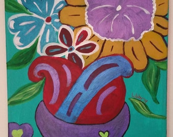 Happy Blooms ACRYLIC ORIGINAL One of a Kind