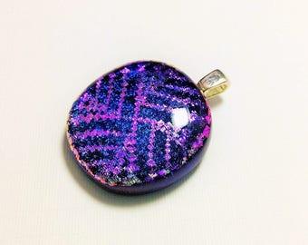 Crisscross - beautiful handmade fused dichroic glass pendant