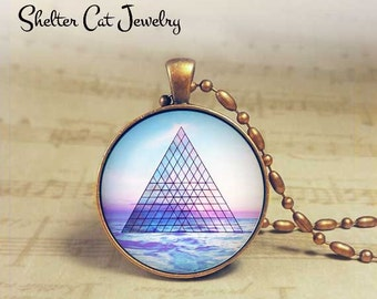 "Sacred Geometry Necklace - 1-1/4"" Circle Pendant or Key Ring - Photo Art - Triangle, Pyramid, Spiritual Metaphysical Cosmic, Yoga Gift"