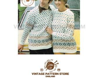 "Ladies mans, round neck, fair isle, raglan sleeve sweater 34"" - 44"" - Vintage PDF Knitting Pattern 150"