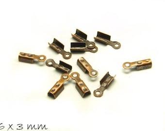End caps, copper 6 x 3 mm
