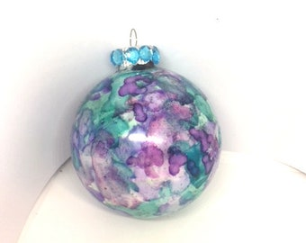 Hand Alcohol Ink Painted Round Glass Christmas Ornament Turquoise and  Purple, Rhinestone Top