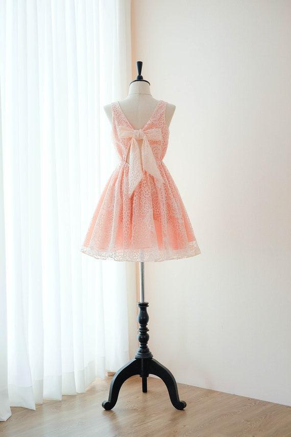 Pfirsich Pfirsich Kleid Brautjungfernkleider Partei Kleid