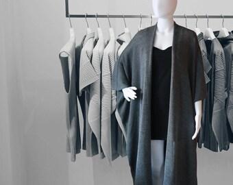 Long cardigan, Womens sweater, oversized sweater, gray poncho, kimono sweater, abaya, kimono boho, womens cardigan, plus size poncho, poncho