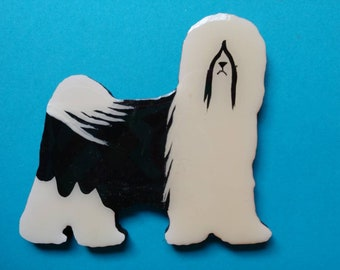Tibetan Terrier Pin, Magnet or Ornament- Color Choice- Free Shipping- Hand Painted