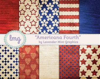 Americana Digital Scrapbook Paper - Patriotic, Fourth of July - Red, White, and Blue - Stripes and Stars - Instant Download, Commercial Use