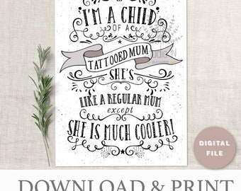 Mother's day card, tattoo card, mum card, card for a tattooed mom, mothers day greeting card, card for mother's day, typography card