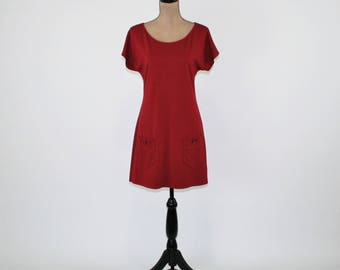 Red Dress Women Small Short Sleeve Jersey Knit Dress with Pockets Scoop Neck Casual Red Dress Short Red Dresses for Women Womens Clothing