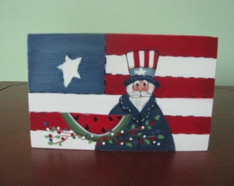 patriotic flag block shelf sitter, Uncle Sam flag shelf sitter, 4th of July decor, Americana decor, patriotic decor, gift for her, hostess