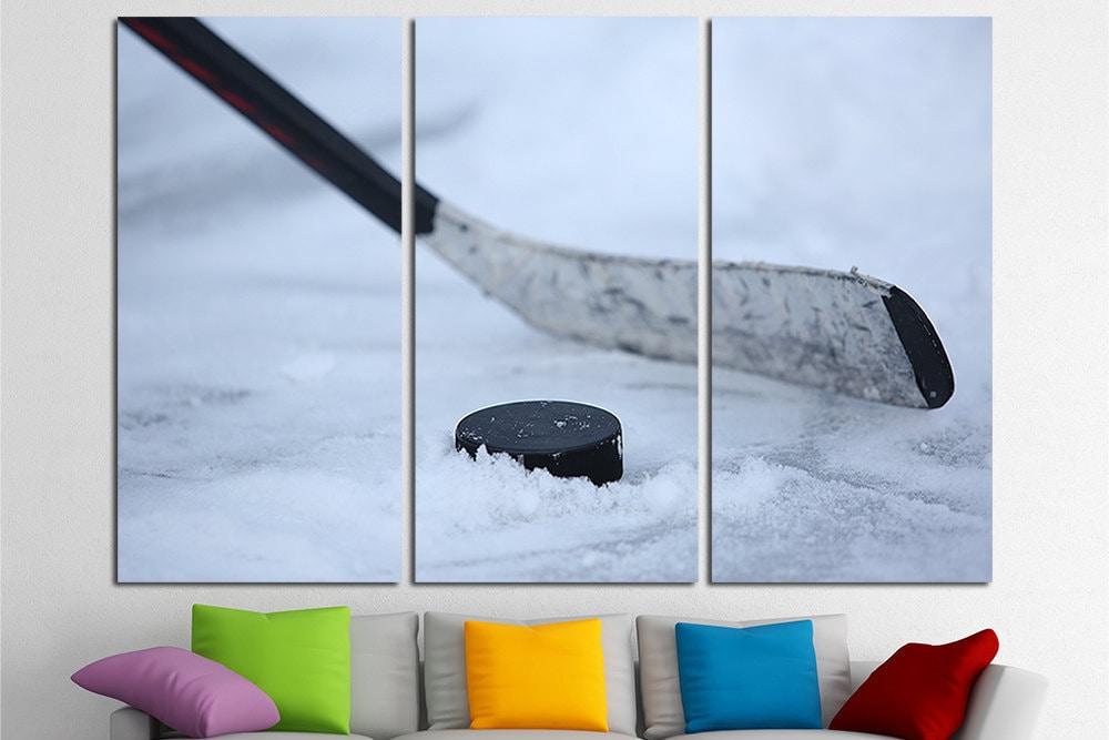 Hockey sur glace grande toile impression murale art multi for Grande glace murale