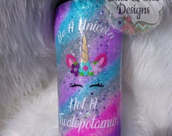 Swirl Unicorn Glitter Tumbler- Glitter Ombre - Gift for Teen- Bridal Party Gift - Gift for Her - Teenager - Birthday-Present-Mothers Day-