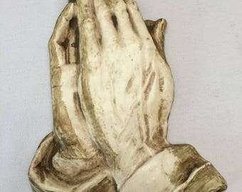 Praying Hands Chalkware