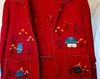 1950s red wool Presidente Mexican Tourist jacket in good condition, size med